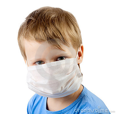Illness child boy in medicine mask