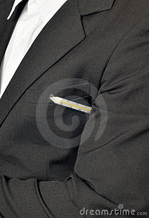 Illness - Sick businessman with thermometer