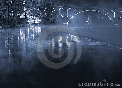 Illuminated bridge with fog