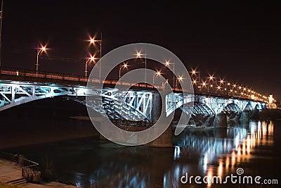 Illuminated bridge over Vistula River