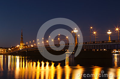Illuminated bridge in Riga