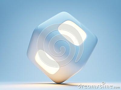 Illuminated cube 3d on blue background