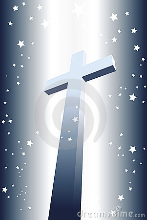 Illuminated divine cross with stars