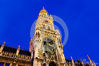 Illuminated Facade of New Town Hall in Munich