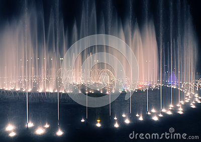 Illuminated fountain night