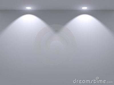 Illuminated gray wall