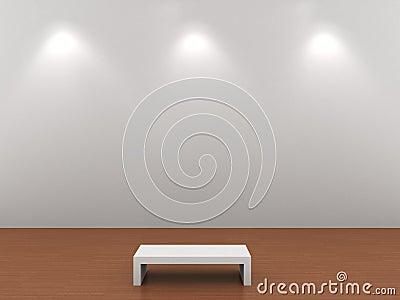 Illuminated gray wall