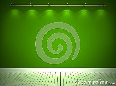 Illuminated green wall