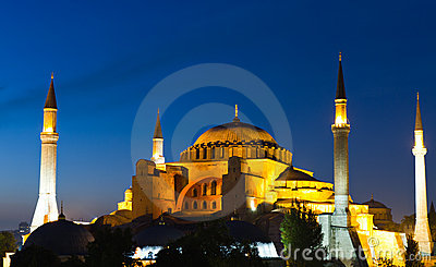 Illuminated Hagia Sophia during the blue hour
