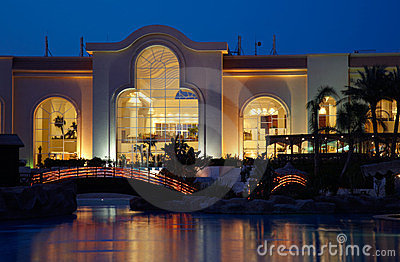 Illuminated hotel