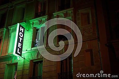 Illuminated hotel sign.