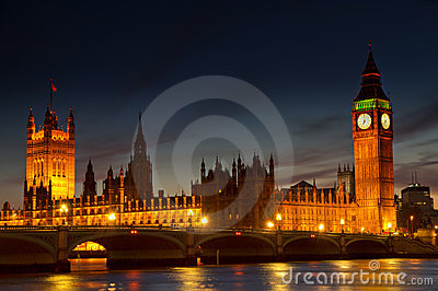 Illuminated Houses of Parliament