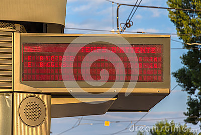 Illuminated indicator board of waiting time of trams