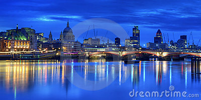 Illuminated London skyline