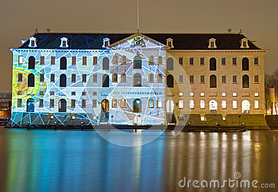 Illuminated Maritime Museum Editorial Stock Photo