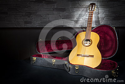 Illuminated music guitar with case in fron