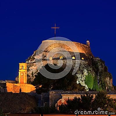 Illuminated  Old fortress, Corfu