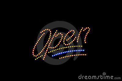 Illuminated Open neon sign
