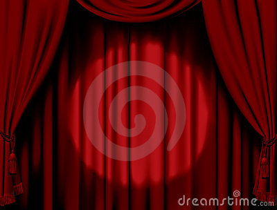 Illuminated red curtain