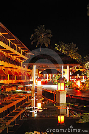 Illuminated relaxation area of luxury hotel