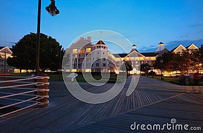 Illuminated resort  at night