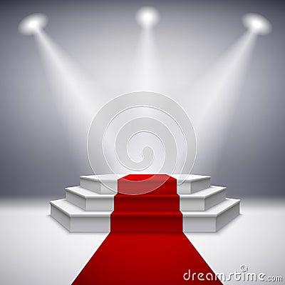 Illuminated stage podium with red carpet