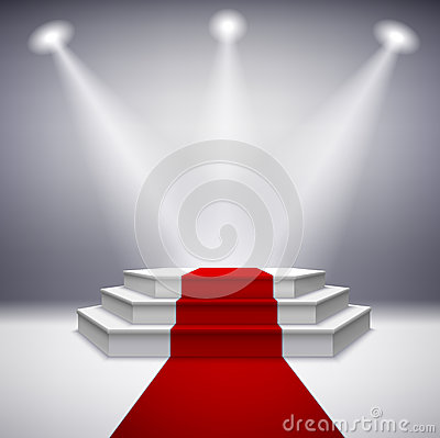 Free Illuminated Stage Podium With Red Carpet Royalty Free Stock Photography - 39490897