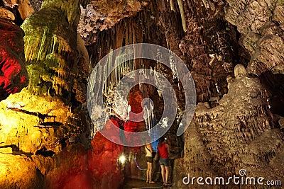 Illuminated stalactites, Gibraltar