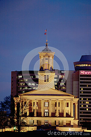 Illuminated State Capitol of Tennessee Editorial Photography