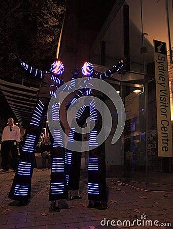 Illuminated street performers, stilt walkers for Sydney Vivid a