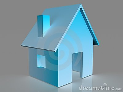 Illustrated 3D house in blue