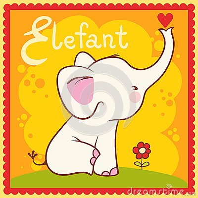 Illustrated alphabet letter E and elephant.