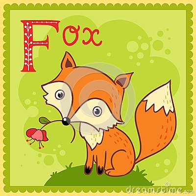 Illustrated alphabet letter F and fox.