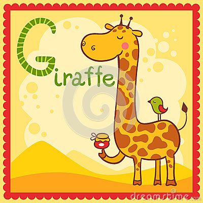 Illustrated alphabet letter G and giraffe.