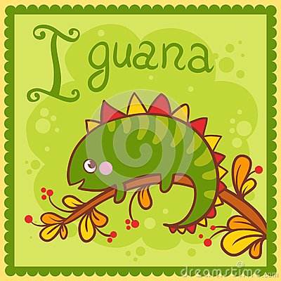 Illustrated alphabet letter I and iguana.