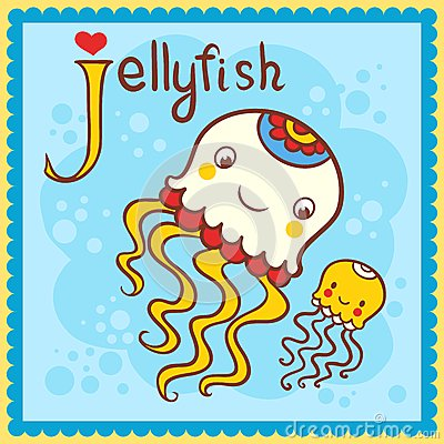 Illustrated alphabet letter J and jellyfish.