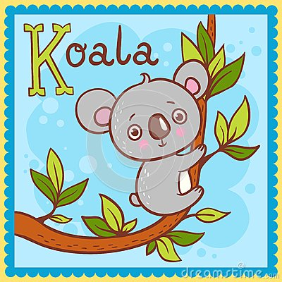 Illustrated alphabet letter K and koala.