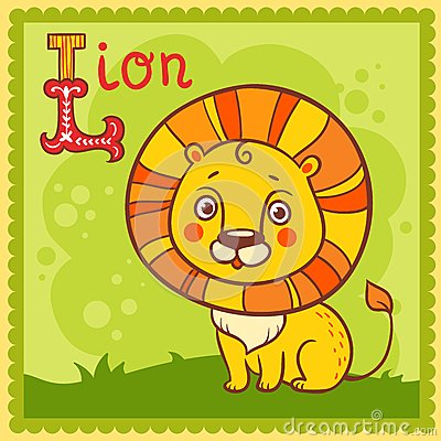 Illustrated alphabet letter L and lion.