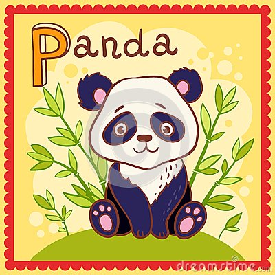 Illustrated alphabet letter P and panda.