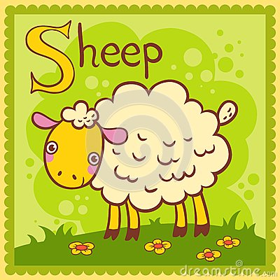 Illustrated alphabet letter S and sheep.