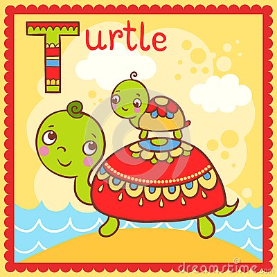 Illustrated alphabet letter T and turtle.