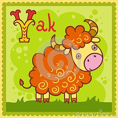 Illustrated alphabet letter Y and yak.