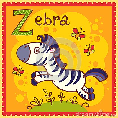 Illustrated alphabet letter Z and zebra.