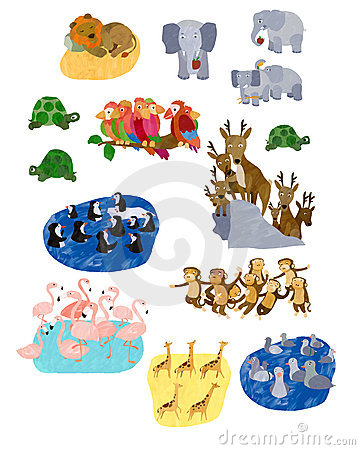 Free Illustrated Animal Collage Stock Image - 2871201