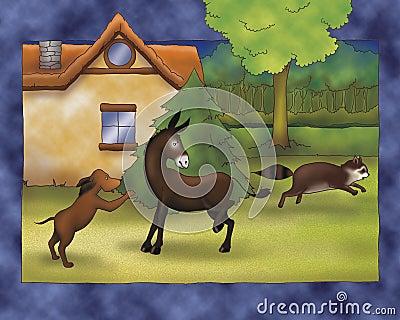 Illustrated animals fighting