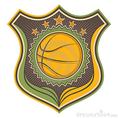 Illustrated basketball crest.
