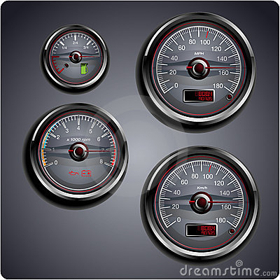 Illustrated car gauges