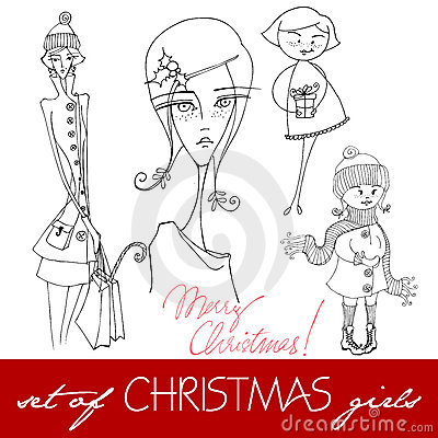 Illustrated Christmas girls