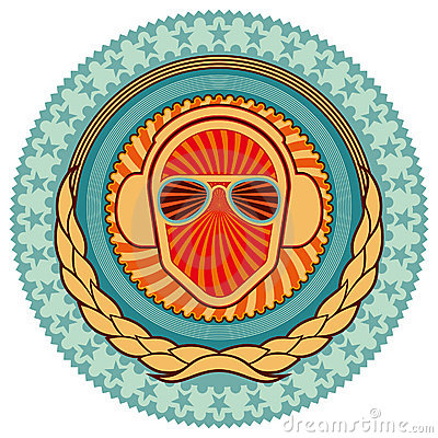 Illustrated colorful clubbing emblem.