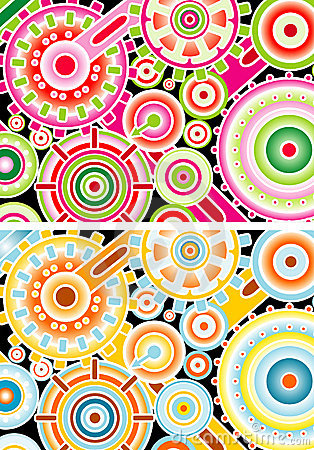Illustrated colorful cogs
